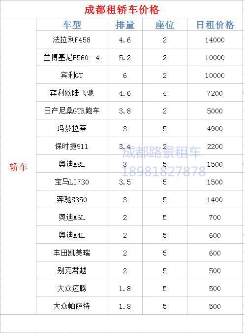 成都商务租车_租车价格一览表